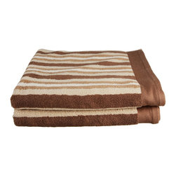 Combed Cotton 550 GSM Stripe 2 Piece Bath Towel Set - Chocolate - Featuring an attractive stripe pattern these towels add color and beauty to any bathroom. With 550 GSM these luxurious towels are super soft and absorbent, while being durable and long lasting. This set includes two bath towels(30x52).