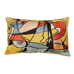"Modern Silk - Modern Abstract Oblong Pillow Cover Hand Emrbroidered 13"" x 21"" - Expertly handcrafted chain-stitch embroidery with a design inspired by the works of modern artist. The abstract qualities of this piece, as well as the juxtaposition of primary colors and pastels of this decorative cushion cover, create a vibrant point of interest for your décor."