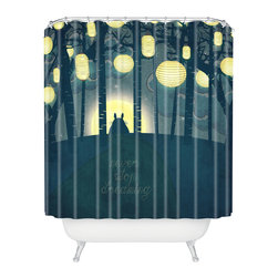 DENY Designs - Belle13 Totoros Dream Forest Shower Curtain - Who says bathrooms can't be fun? To get the most bang for your buck, start with an artistic, inventive shower curtain. We've got endless options that will really make your bathroom pop. Heck, your guests may start spending a little extra time in there because of it!