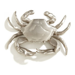 Crab Brass Door Knocker, Brushed Nickel - An impeccable choice for a bungalow on the beach or a preppy house on the Cape, this charming crab door knocker is a fun way to greet your guests.