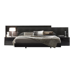 Rossetto - Rossetto Nightfly Platform Bed 5 Piece Bedroom Set in Ebony - Rossetto - Bedroom Sets - T4126003X50035PcBedPKG - Rossetto Nightfly Platform Bed in Ebony (included quantity: 1) Ebony and upholstery with a crocodile finish, wood grains and textures create a varied and precious overall effect while an extendible headboard adapts to all requirements of space.
