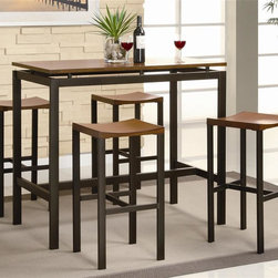 Coaster - Atlus 5-Pc Counter Height Table Set - Includes table and four stools. Contemporary style. Straight legs. Clean lines. Smooth straight edges. Rectangular shape table. Wooden top. Matte finish metal frames. Table: 48 in. L x 24 in. W x 36 in. H. Stool: 16 in. W x 14 in. D x 24 in. H. WarrantyYou can have a table that marries utility and beauty perfectly with this counter height table and chair set. There will be plenty to get excited about when you add this sophisticated five piece dining set to your casual dining and entertainment room.
