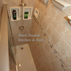Recessed Bathroom Tile Niches - This is one of the last bathrooms I built before concentrating on my new bathroom ceramic niche and shelf business. The idea here was to show off my new products including my architectural niches and crown molding shelves.