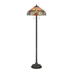 "Quoizel - Country - Cottage Quoizel Mariah Vintage Bronze Tiffany Style Floor Lamp - The Mariah floor lamp by Quoizel features a slender column base in a vintage bronze finish and a Tiffany-style shade up top in a colorful floral pattern. The art glass shade is hand-assembled from more than 430 pieces of glass and uses the same copper foil method developed by Louis Comfort Tiffany. Tiffany style floor lamp. Resin and art glass construction. Vintage bronze finish. Glass count 436 pieces. Takes two 100 watt medium base bulbs (not included). 61"" high. Shade is 16"" round.  Tiffany style floor lamp.  Resin and art glass construction.  Vintage bronze finish.  Glass count 436 pieces.  Takes two 100 watt medium base bulbs (not included).  61"" high.  Shade is 16"" round."