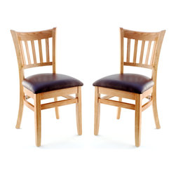 Seating Masters - US Made Vertical Slat Chair- Set of 2 (Natural), Wine Vinyl Seat - The Premium Wood Ladder Back Chair offers a traditional design which will be sure to provide your customers with the comfort they desire.