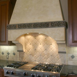 Kitchen Backsplashes - Romanesque Liner, Rachel's Flower and Madison 1X1 was used in this stunning design.