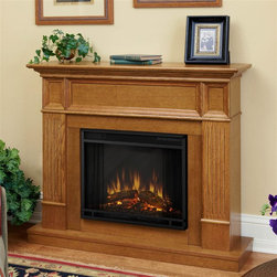 Real Flame - Camden Electric Fireplace in Light Oak - Can be assembled as either a corner piece or flat against any wall. Corner Dimensions:40.5H x 45.125W x 34D111lbs . Solid wood and veneered MDF construction.. Includes: MDF mantel, firebox, hand painted cast concrete log ,screen kit, and remote control. The hidden LED display shows the settings as they are changed from either the control panel or the slim profile remote. Features a programmable thermostat to provide precise heating in Celsius or Fahrenheit, timed shut off, dynamic embers. Requires open. Programmable thermostat with display in Fahrenheit or Celsius. Ultra Bright LED technology with 5 brightness settings. Digital readout display with up to 9 hours timed shut off. 45.125 in. W x 11.625/34 in. D x 40.5 in. H (84/111 lbs.)The Camden is a definitive piece of classic American Colonial style.Trimmed nicely with fluted columns and recessed panels, the Camdenis sure to be a lasting statement in any home. Additionally, theincluded corner panel allows this time-honored mantel a secondoption for installation.1400 Watts. 4780 BTU's/hr.