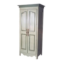 "British Traditions - Petite Country French Armoire & Entertainment Center (French Gray) - Finish: French Gray. Each finish is hand painted and actual finish color may differ from those show for this product. French armoire. Comes with either a clothes rod and 1 adjustable shelf, or with 2 adjustable shelves. Minimal assembly required. Cabinet size: 24 in. W x 17 in. D x 61 in. H. 7 in. Up off ground. 34 in. W x 22 in. D x 75 in. H (137 lbs.)""Petite"" only when compared with our very large entertainment centers and armoires, this lovely piece offers ample space for most televisions as well as VCR and CD components. Graced by elegant, narrow double doors and raised panel moulding, the petite armoire is a lovely addition to any residential or commercial application, The perfect piece for bedroom, bath, child's room. Or try it in a garden room (retail or residential) topped with a charming garden statue, surrounded by trailing plants -- or a collection of antique vases. Two adjustable shelves, or one adjustable shelf and a clothing rod (specify when ordering), are standard."