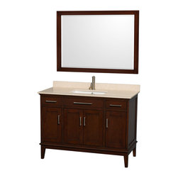 """Wyndham Collection - Hatton 48"""" Dark Chestnut Single Vanity w/ Ivory Marble Top & Square Sink - Bring a feeling of texture and depth to your bath with the gorgeous Hatton vanity series - hand finished in warm shades of Dark or Light Chestnut, with brushed chrome or optional antique bronze accents. A contemporary classic for the most discerning of customers. Available in multiple sizes and finishes."""