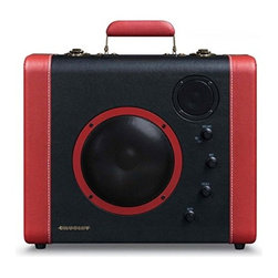 Crosley - Sound Bomb Portable Bluetooth Speaker System, Black/Red - With a vintage suitcase style design, the Sound Bomb portable speaker system from Crosley allows you to easily take your music on the go. Featuring the latest bluetooth technology, the Sound Bomb allows you to wirelessly play your music from your smartphone, laptop or other bluetooth enabled device. Or, with the flip of a switch and a connection of a microphone, instantly turn it into a portable PA system to make that all-important announcement. No matter where you need to take the music, the Sound Bomb can get you there.