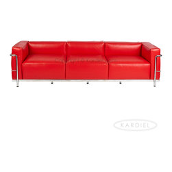 "Kardiel Le Corbusier Style LC3 Sofa 3 Seat, Red Aniline Leather - The Le Corbusier sofa set series was originally designed in 1928 for the Maison La Roche house in Paris. The design is the modernist response to the traditional club chair. The series comes in a smaller version referred to as the LC2 and a larger version known as the LC3 considered more appropriate for practical living purposes. Remarkably comfortable, Le Corbusier often referred to the pieces as ""cushion baskets"". A striking feature of the LC3 is the externalized metal frame supporting the base, extending as the legs and running the entire length of the piece. Its not just the front of the LC3 that is attractive, the metal frame work means design detail from the sides and back allowing for easy placement even in the middle of a room. The Le Corbusier LC3 set is often used in a group of 2 chairs (1 seat version) and a single sofa or love (2 or 3 seat versions). Kardiel offers the highest quality Le Corbusier LC3 Grande' reproduction on the market. We specialize in this series and understand fully the intricacies of the original design. From the supple Genuine Aniline leather to the plump generously filled and wrapped cushions, our full list of features means you don't have to settle for an inferior reproduction. You also don't have to pay more. With Kardiel's signature reproduction, you can have your own version of the Le Corbusier LC3 Grande series. Compare this reproduction anywhere for its highest standard of exacting detail. The accuracy of this LC3 Grande reproduction is second to none."