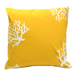 """Elisabeth Michael - Coral Reef Indoor/Outdoor Pillow - Features: -Color: Yellow. -Material: 100% Polyester. -Polyester cover for quick drying. -Non woven waterproof insert. -Zippered cover and removable. -Washable. -1000 hours of light fastness. -Indoor, outdoor pillow with non woven insert perfect for outdoor use. Dimensions: -18"""" H x 18"""" W x 4"""" D, 1 lb."""