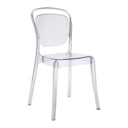 Modway Furniture - Modway Entreat Dining Side Chair in Clear - Dining Side Chair in Clear belongs to Entreat Collection by Modway A sprawling minimalist design makes the Entreat dining chair a uniquely elegant choice. Made of durable and strong polycarbonate plastic, Entreat is an uncomplicated piece intended to serve as the backdrop to your life activities. The silhouette back design casts an intriguing shadow on your surroundings, while fully enlightening your eating engagements with a simple light-filled decor. Set Includes: One - Entreat Dining Chair Side Chair (1)