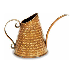 "Achla - Hammered Copper Watering Can - The distinctive style of our popular Daisy Watering Can will add a note of pastoral joy to your garden sanctuary.  Crafted of non-corrosive copper and featuring a traditional hammered pattern, the Daisy Watering Can measures 6.5"" wide and stands 7.5"" tall.  Who said watering cans can't be exquisite?  Well they didn't see the hammered copper design of this indoor one.  It is stylish and functional with an attractive scroll handle and long curving pour spout to help with high and low plants. * Hammered Copper w pattern. Holds 3 pints of water. 6.5 in. Dia. x 7.5 in. H"