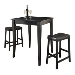 Crosley Furniture - 3 Pc Pub Dining Set w Cabriole Leg and Saddle - Includes Pub Table and 2 Stools in Black. Solid Hardwood & Veneer Construction Table . Solid Hardwood Stools. Hand Rubbed, Multi-Step Finish. Solid Hardwood, Carved Cabriole Style Legs. Durable Stain Resistant Faux Leather PVC Seat. Table Dimensions: 36 in. H x 32 in. W x 32 in. D. Stool Dimensions: 40 in. H x 18.5 in. W x 22.5 in. DConstucted of solid hardwood and wood veneers, the 3 piece Pub / High Dining set is built to last. Whether you are looking for dining for two, or just a great addition to the basement or bar area, this set is sure to add a touch of style to any area of your home.