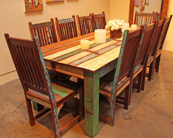 Reclaimed Wood Dining Set - Beautifully handcrafted out of a mix of reclaimed woods, this dining set is not only functional but also environmentally friendly. Pieces sold separately or as set.