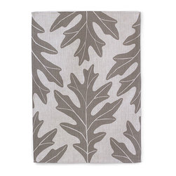 "Bambeco Oak Leaf Linen Tea Towel in Slate - Hand-printed with water-based inks on natural linen in the USA, the Oak Leaf Linen Tea Towel in Slate is the perfect kitchen accomplice. A bold slate-colored fall leaf design on linen brings seasonal style to your kitchen. The 100% linen fabric is sturdy, absorbent and becomes softer with each use. Use these towels to dry the dishes, cushion a bowl, protect your hands, wrap a gift or set a table. They're a natural, reusable and responsible alternative to paper.  Linen may be one of the oldest textiles in the world, dating back to approximately 8,000BC; it is the strongest of the vegetable fibers, smooth and lint free. Linen is highly absorbent and easily dyed; the color will not fade with washings.  Dimensions: 18""W x 26""L  Care: Machine wash, tumble dry low"