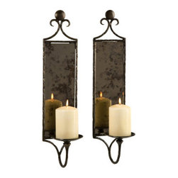 Grandin Road - Set of Two Candle Mirror Wall Sconces - Ornately styled, hand-hammered iron serves as both the frame for the antiqued mirror and support for the candle. Crafted from substantial materials to make an inspired design statement for years to come. Iron is protected with a durable black powdercoat. Candles not included. Wake up your walls with a fabulous find that reflects well on your taste for the extraordinary using our Set of Two Mirror Candle Wall Sconces. Antiqued mirror reflects the dancing light of pillar candles, accompanied by the distinctive look of hand-hammered iron. Possesses warmth and dynamic character everyday wall accents simply can't duplicate.  .  .  .  .
