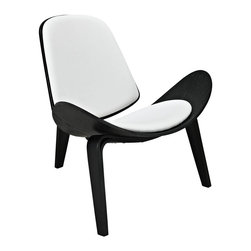 "Modway - Arch Lounge Chair in Black White - Some lines were made to be bent in this throw-back piece to the mid-50s. Arch is a deeply kinetic piece that propels both style and a sense of adventure into expanse-driven living and lounge areas. Constructed of molded wood with and ash veneer, the vinyl padded seat and back compliment this perfect piece to compliment a life on the move. Set Includes: One - Arch Wood Lounge Chair. Durable molded plywood; Padded vinyl seat and back; Tripod base; Ash veneer; Assembly Required; Overall Product Dimensions: 15""L x 29""W x 25.5""H; Backrest Dimensions: 14.5 - 18.5""W x 12.5""H; Seat Dimensions: 17.5""W x 15.5""H"