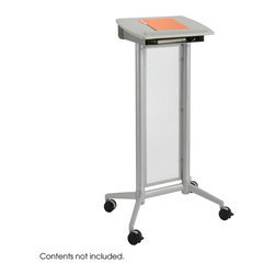 Safco - Impromptu Lectern - Gray - Accent every presentation with the wonderfully, eye-catching Impromptu Lectern. From a long awaited conference to spur-of-the-moment meeting, enable every speaker to have the luxury they deserve. The Impromptu Lectern features a steel frame and translucent polycarbonate panel for a stylish look that will add intrigue to every presentation. And easily move the lectern from one space to the next to meet everyone's needs. Available in Metallic Gray or Black powder coat finish. Four swivel casters, (2 locking).