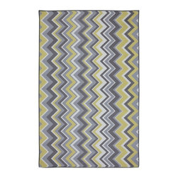 Mohawk Home - Outdoor Patio Ella Zig Zag Yellow Contemporary Chevron 8' x 10' Mohawk Rug - Bold zigzags are like graphic art for your floor! Our outdoor rugs are made from nylon that resists staining, fading, and mold/mildew. Our unique marine backing application on our nylon outdoor rugs allows the water to pass through the rug instead of absorbing it, much like the carpet you find on boats.Gray Lock Tuft Marine Backing