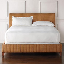 Frontgate - San Pedro Woven Bed - Dimensional texture originates from interweaving 5-6mm thick natural cane with a 8mm round rattan core. Fully woven back allows for floating the bed in a room. Woven side rails finish the look from head to foot. Includes five finished support slats. Some assembly. San Pedro brings the warmth and beauty of the tropics into the bedroom. Starting with two sizes of cane, artisans spend 7 days weaving a masterpiece of textural dimension and character. This canvas of honey-colored cane is then bound to a sturdy gmelina frame, complete with a softly curved headboard and slight padding for added comfort. . . . . . Imported .