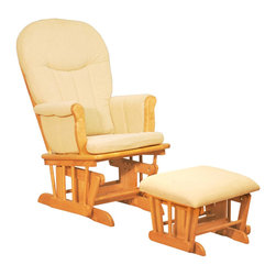 AFG Baby - AFG Baby Deluxe Glider Chair with Ottoman in Natural with Dark Beige Cushion - The Deluxe Glider Chair is ideal for almost any room in the house. Glider chairs come with a removable matching ottoman. Its sturdy Birch hardwood structure offers the safety and comfort with an easy glide function. This chair combines the traditional rocking chair with modern style.