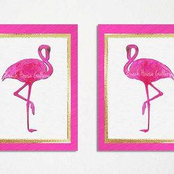 Flamingo Art Print - Hot pink flamingo archival quality prints. 5x7 to 20x30