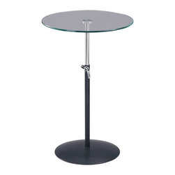 Adesso - Adesso Soho Adjustable Table, Black/Steel - WK2990-01 - Painted black metal base with chrome pole and adjustment lever