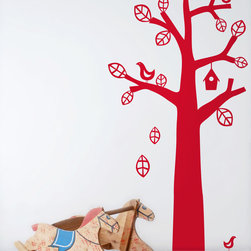 Bird Tree Wall Stickers - Red - With our decorative WallStickers, it is easy to create a new look and change the style of a room in a matter of minutes. Can be applied to all even and smooth surfaces. Will not stick to rough surfaces, such as brick walls etc.
