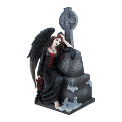 Gothic Dark Angel Mourning by Tombstone Statue - This somber dark angel mourns the loss of her dearly departed. The gothic beauty holds a wreath of dark red roses for her lost love. The amazing detail of this piece manifests in the frills of the angel`s feathered black wings and the deep folds of her long black dress. The white flowers in her black and blood red hair are the only signs of hope in this solemn scene. The burial monument on which the angel grieves bears an intricately design Celtic cross at its peak and a solemn epitaph on its side. The cold cast resin figure is hand painted and measures 9 inches tall, 5 1/2 inches long, and 4 1/2 inches tall. This beautiful piece would make a striking addition to a gothic art collection.