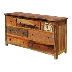 Sierra Living Concepts - Rustic Reclaimed Wood 7 Drawer Dresser - Reclaimed wood adds a history and spirit to furniture that can't be copied.