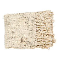 Tobias Throw - Ivory - Ease the lines of furniture that's too dark, too crisp, or too formal by subtly softening the piece with the Tobias Throw in Ivory.  Its light color, open weave, and loose fringe offer a quaint, poetic simplicity to the space that hosts this throw blanket, while the delicate touch of the wool-blend yarns is a delight to touch when you're relaxing over cocktails or after a bath.