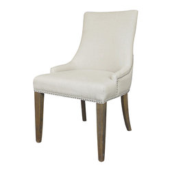 Four Hands - Sadie Dining Chair - Urban-chic style comes to dinner. Wrapped in white linen and adorned with nickel nailheads, this long-legged chair boasts a tall back and gently sloped arms. How nice to have elegant dining chairs that know how to dress for dinner!