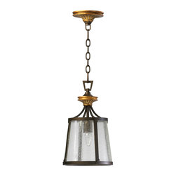 Kathy Kuo Home - San Giorgio Spanish Revival 1 Light Bronze Foyer Pendant - A minimalist fusion of traditional iron metalwork and rustic style, this single light pendant creates a statement wherever it is placed.  Gothic revival, or even industrial style fans will enjoy it's unique character.