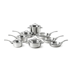 "Calphalon - Calphalon Contemporary Stainless 13-Piece Cookware Set - Chefs with taste for all things modern have a new line of cookware to call their own: Calphalon Contemporary Stainless, Beautiful, Brushed Stainless Exterior. Dishwasher safe.. Fast, easy clean-up. Sleek Curved Vessel. Unique design complements your kitchen. Stay-Cool Handles. Comfortable through hours of stovetop cooking. Tempered Glass Covers. For see through convenience and beautiful presentation. Tri-Ply Performance. Full aluminum core for superb conductivity and even heating. Set Includes:    8"" omelet / frying pan    10"" omelet / frying pan    12"" omelet / frying pan    1.5-qt. sauce pan with cover    2.5-qt. sauce pan with cover    3-qt. chef's casserole with cover    3-qt. saute pan with cover    8-qt. stock pot with cover. Lifetime warranty.."