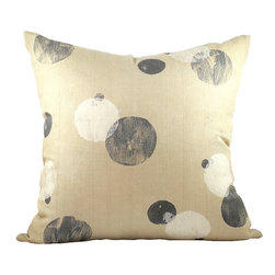BZDesign - Warm Beige Hand Block Printed Linen Pillow - This simply elegant linen pillow will easily fit into any contemporary setting!
