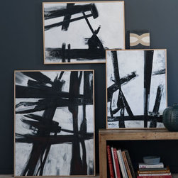 Abstract Black + White Wall Art - These replicas of the famous Franz Kline black and white paintings are so good!