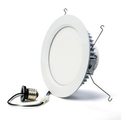 """6"""" LED Retrofit Luminaire - Can Light Conversion Kit - As simple as replacing a light bulb, you can retrofit existing recessed can light housings with these LED Retrofit Can Light Conversion Kits. Designed for down lighting in ceilings of residential or commercial environments as a retrofit or new construction application. The sealed light and base combination have a low energy usage, and prevent heat and air conditioning from escaping to attic areas for added energy efficiency. These stylish lights can be dimmed to 5% (compared to the standard 10%), are maintenance free and turn on instantly, even in extremely cold temperatures."""