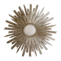 "ARTERIORS Home - Galaxy Star Iron Mirror - A double layer of vertical rays creates dramatic dimension on the sunburst-inspired Galaxy Star mirror by Arteriors. This oversized wall accent brings to mind the glamour of Hollywood Regency style in a contemporary silver finish. Features: -Iron and glass. -D ring hanger. Specifications: -Overall dimensions: 41.5"" Dia. x 1""D."