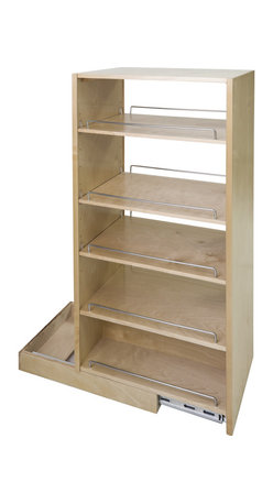 """Hardware Resources - Pantry Cabinet Pullout - Pantry Cabinet Pullout 5 1/2"""" x 22 1/4"""" x 45 1/2"""".  Featuring 225# full extension ball bearing slides  adjustable shelves  and clear UV finish.  Species:  Hard Maple.  Ships assembled with removeable shelves and shelf supports."""