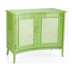 British Colonial Cabinet, Green - Here's a shade of green to add to a kelly green mix. This chest from Wisteria is so versatile.