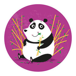 Boys room wall decor - Adorable panda decal with bamboo, for your child's wall or laptop. Also available as a 20 inch diameter giclee canvas print.