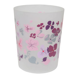 Printed Trash Can Softies Purple 3-Liter/0.8-Gal - This printed trash can Softies for bathrooms is in polypropylene. It is opaque with flower patterns. This trash can is a lovely accent for any bathroom with an open top, its capacity is 3-Liter/0.8-Gal. Diameter of 7.68-Inch and height of 9.45-Inch. Wipe clean with a damp cloth. Color purple and pink. Add a fun and modern style to your bathroom decor with this lovely trash can. It's almost too pretty to toss trash into this waste bin! Complete your Softies decoration with other products of the same collection. Imported.