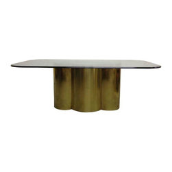 Pre-owned Custom Brass Quatrefoil Cloud Dining Table Base - Incredible brass quatrefoil dining table base! Glamor to spare!!! Will support a very heavy, substantial piece of glass, rectangular or oval.    Made to order by Refine Modern, LTD. Please allow 4-6 weeks for piece to be fabricated. We also produce this piece in a mirrored chrome finish and can make it as a cocktail table, as well! Have another shape you'd like? Just ask--we can probably make it happen! Contact Chairish for more details on custom orders.    Please Note: Glass shown is for staging purposes only and does not accompany the table.    Dimensions 44.0ʺW × 25.0ʺD × 29.25ʺH
