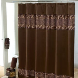 Avanti - Avanti Cheshire 72-Inch x 72-Inch Shower Curtain - This Avanti Cheshire Shower Curtain features a wide band of cheetah & zebra patterns done in the neutral colorations of tan & brown at the top of the curtain. The curtain also has a narrow band finish at the bottom of the curtain.
