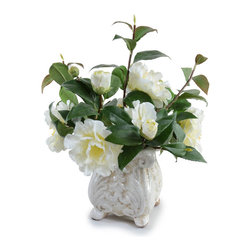 "New Growth Designs - Camellia Arrangement - It is hard to decide which is more beautiful, the ornate French-style planter or the overflowing arrangement of classic white camellias inside. The lifelike mixture of elegant stems, blooms, and buds are arranged by hand in the U.S. The timeless footed vase is 6"" high with a cracked, fire-glazed finish. Total dimensions (approx.): 12"" diameter x 14"" high."