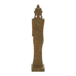 Woodland Imports - Exotic Asian Buddha Statue Brown Home Patio Garden Decor 44693 - Exotic Asian inspired tall slender Buddha statue figurine cast in brown polystone home patio garden Decor