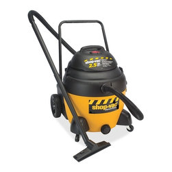 Shop-Vac - Shop-Vac Canister Vacuum Cleaner, 1.86 kW Motor, 9 A-280 W Air Watts - Industrial wet/dry vacuum is designed for high-frequency use in commercial and Jan-San applications and is equipped with a 16-gallon tank, powerful two-stage motor (2.5 peak HP), carriage handle and rear dolly. Dual accessory makeup includes 1-1/4 and 2-1/2 tools. Accessories are 1-1/4 x 7' Lock on hose, two 1-1/4 extension wands, 1-1/4 crevice tool, 1-1/4 round brush, 1-1/4 floor nozzle with brush and squeegee, 1-1/4 gulper nozzle, 2-1/2 x 6' Lock on hose, two 2-1/2 utility nozzles, foam sleeve, Ultra Web cartridge filter and high-efficiency, collection filter bag.