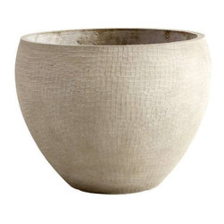 Cyan Design - Round Eugina Planter, Large - Clay planter with brown finish; available in two sizes.
